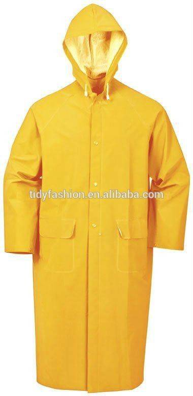 High Quality Long PVC Rain Coat with Hood for Men