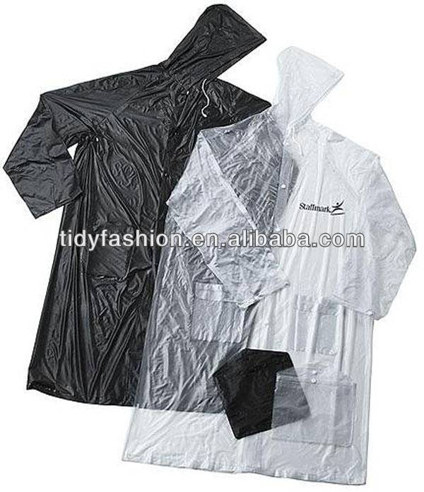 Waterproof Plastic Cheap Hooded Black PVC Raincoats