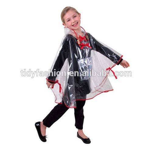 Custom Kids Cute Rain Poncho Clear Coat