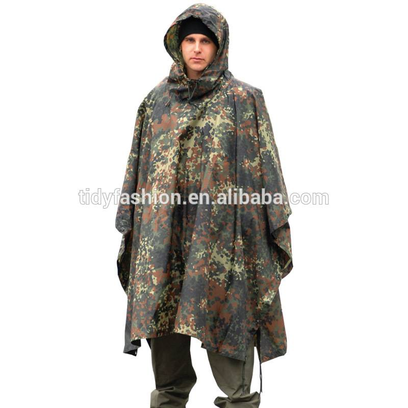 Waterproof Durable PVC Army Military Poncho Raincoat