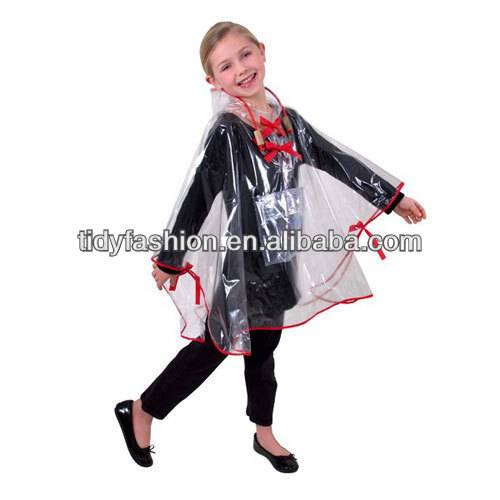 PVC Clear Kids Rain Poncho With Covered Edge