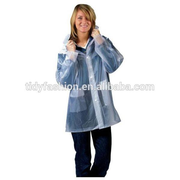 Fashion Waterproof Plastic Clear Ladies Raincoat Jacket