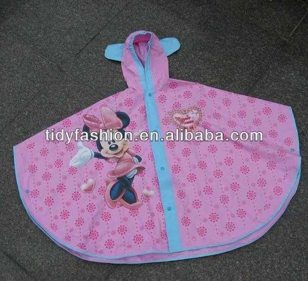 PVC Mickey Mouse Design Children Ponchos Raincoat