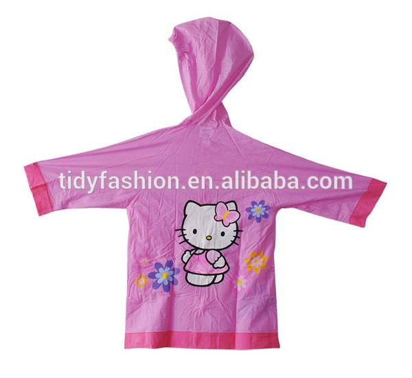 Custom Printed Hello Kitty Waterproof Kids Plastic Raincoats Pink