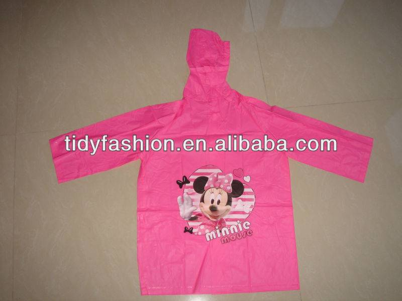 Cartoon Hooded Waterproof Kids Minnie Mouse Raincoat