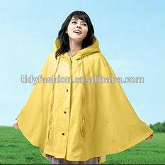 Durable yellow Mexican hooded poncho