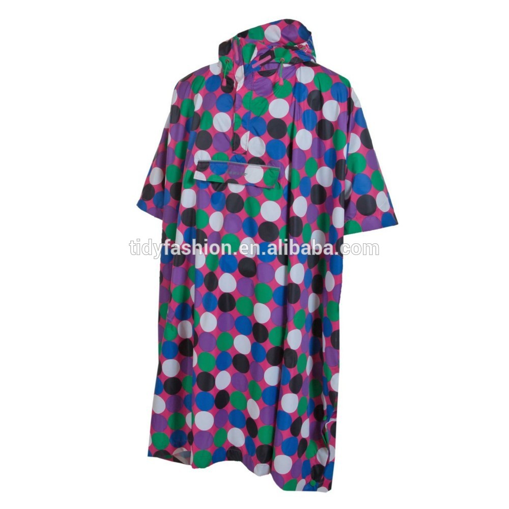 Hooded Polyester Women Hooded Poncho In Bag