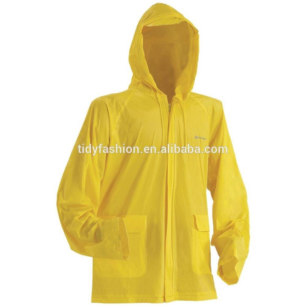 Yellow Fashion Mens Adult Raincoat PVC