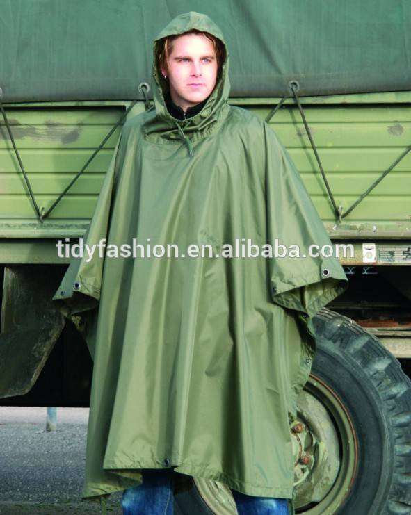 Mens Portable Military and Police Olive Green Raincoat Poncho Featured Image