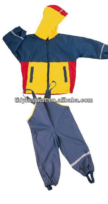 Kids PU Rain Suit With Reflective Strips