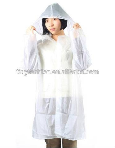 Breathable PVC Ladies Transparent Rain Coat