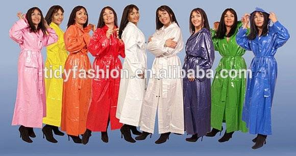 Waterproof Vinyl Full Length Womens Raincoats
