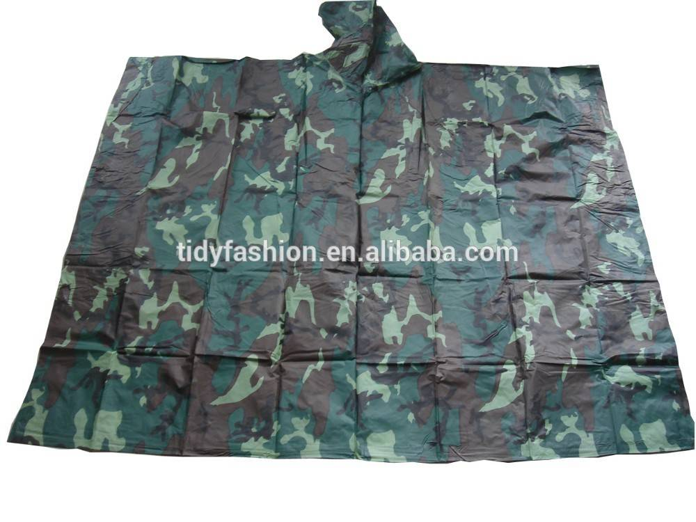 Durable PVC Woodland Waterproof Hooded Military Rainwear
