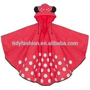 Kids Cute PVC Reusable Rain Poncho/Raincoat