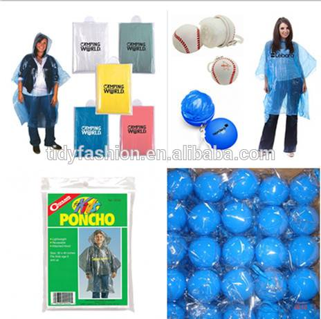 Cheap Logo Printing PE Emergency Disposable Rain Poncho With Ball
