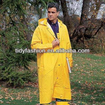 Outdoor Plastic Hooded Long Raincoat For Men