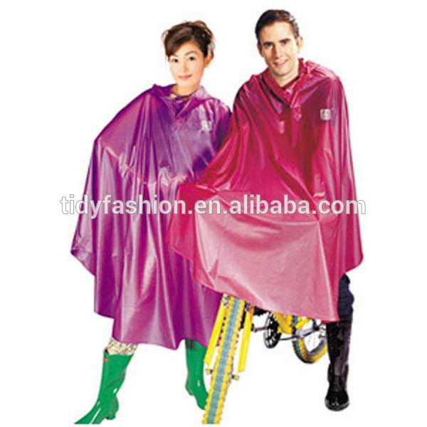 Plastic Hooded Long Women&Men PVC Raincoat For Biker