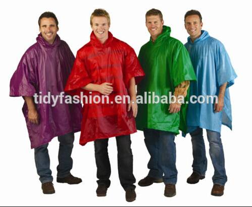 One Size Fits for All Resuable PVC Unisex Rain Ponchos