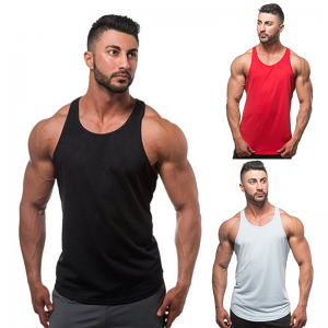Best Price on Plain Shirt - Cotton plain bodybuilding custom fitness vest sport tank top for men – RE-HUO