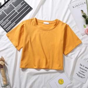 Lowest Price for Womans Tshirt With Logo - Wholesale Women Fashion Custom Logo Print Shirt Ladies Summer Plain Crop Tops – RE-HUO