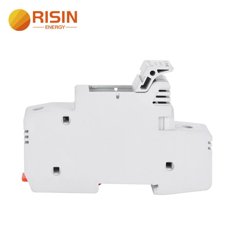 Risin 63A Solar Fuse Holder 1500V DC wire fusible 14x65mm gPV fuse Din Rail holder for solar pv system circuit protection