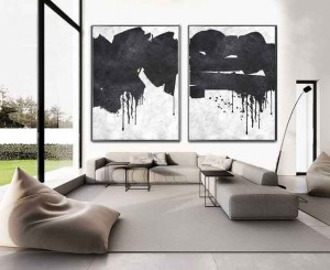 2 piece Minimal white black painting, Wall Art Canvas Painting  #RG2026WB