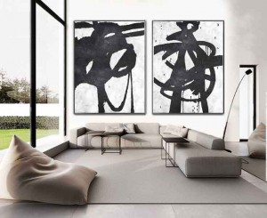 Art Decor 2 piece black and white wall art oil painting #RG2030WB
