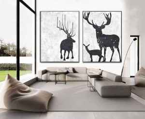 Art Decor 2 piece Deer Modern Home Bedroom Office Wall Decoration Contemporary Art  #RG2031WB