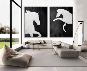 Wall Decor 2 piece horse white and black abstract oil painting #RG2034WB
