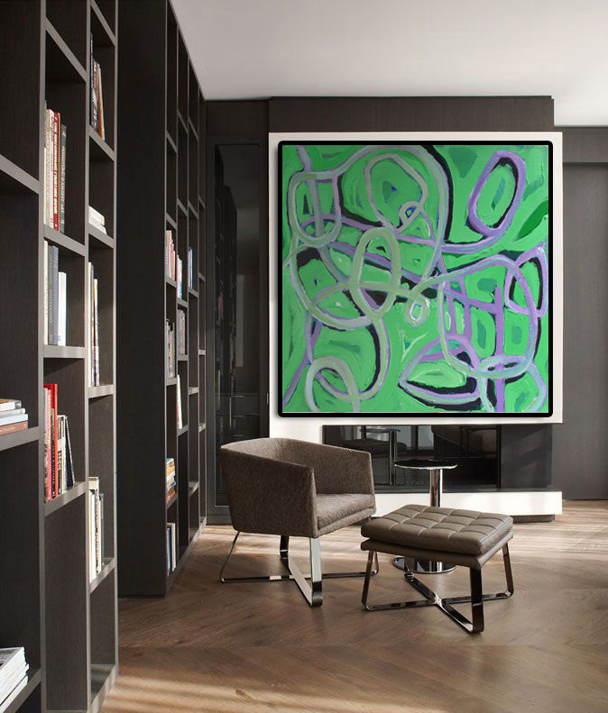 Geometric Abstract Art Painting on canvas, Green elements
