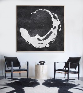 simple modern white black art painting #RG2008WB