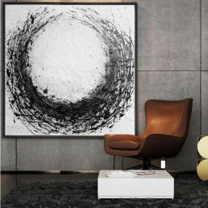 Factory selling Hanging Canvas Prints - Minimal White and Black Art Abstract Painting #RG2002WB – Royi Art
