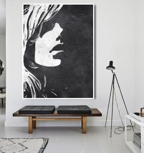 Low price for Colorful Abstract Art - white black figure art painting #RG2013WB – Royi Art