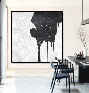 simple modern white black art painting #RG2007WB