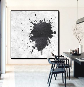 simple modern white black art painting #RG2009WB