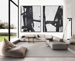 Abstract 2 panels canvas wall art group black and white oil painting RG2070 White&Black