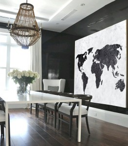Modern abstract world map decor black and white...