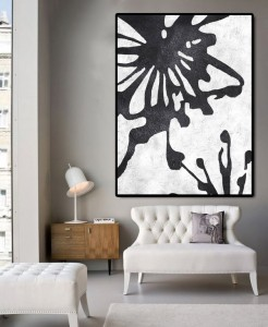 Wall decor black and white abstract original oi...
