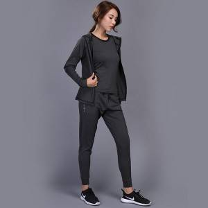 WoMens Running Fitness Clothes Long Sleeve Gym Sports Suits Quick Dry