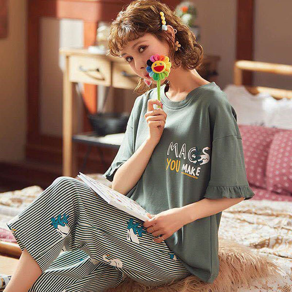 Factory wholesale Cotton Vest Top - Summer Womens Short-sleeved pajamas High Quality New 100% Cotton Comfortable WomenSleepwear Set – Ruisheng