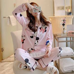 China 100% cotton womens long-sleeved pajamas  pijamas summer short-sleeve pyjamas ladies pajamas women