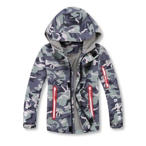 Cheap price Childrens Sleepwear – Kids jackets for Spring or autumn grey camouflage coat factory directly made – Ruisheng