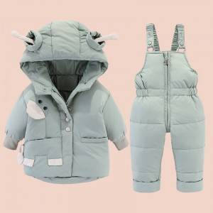 Manufacturer for Baby Bibs - Children's hooded jumpsuit padded duck down and down suit – Ruisheng