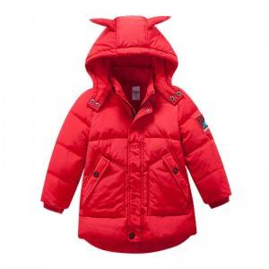 Hooded thick down jacket for boys and girls