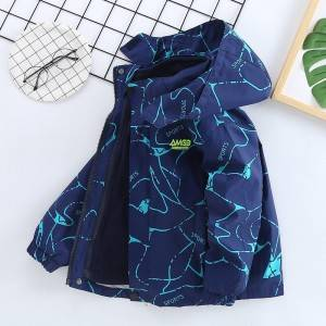 Boys and girls lightning print winter thick duck down jacket