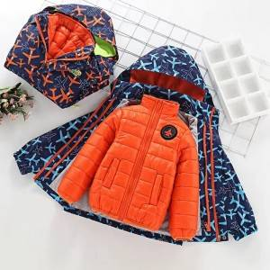 Boys hooded printed winter thick down jacket