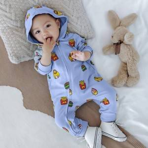 Spring and Autumn Newborn Baby Long Sleeve Print Hoodie