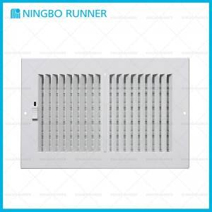 "New Delivery for 1/3""Fin Steel Register Metal Lever - Aluminum Register 2-way-with Damper Sidewall Ceiling Register White – Ningbo Runner"