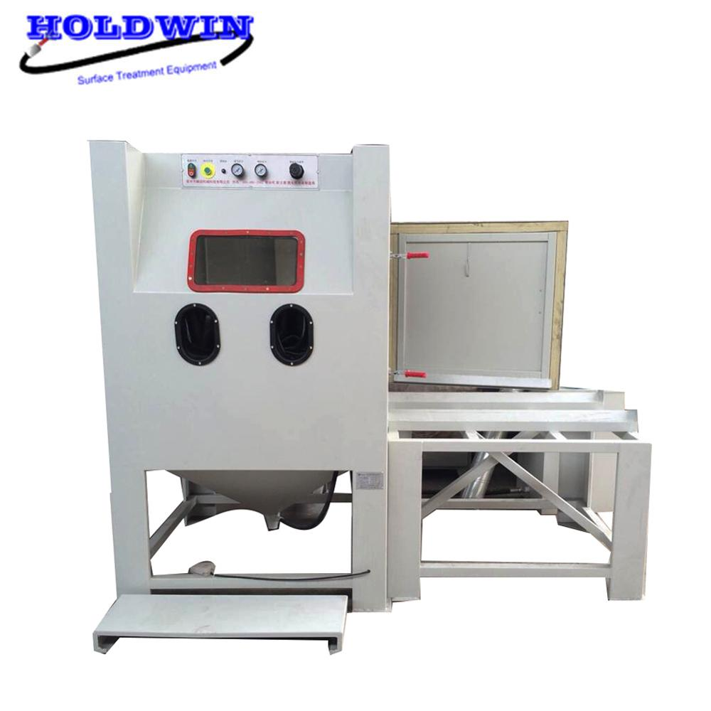 Holdwin Mold Sandblasting Cabinet Turntable Sand Blaster Machine Dry Sandblast Equipment with Trolley Cart