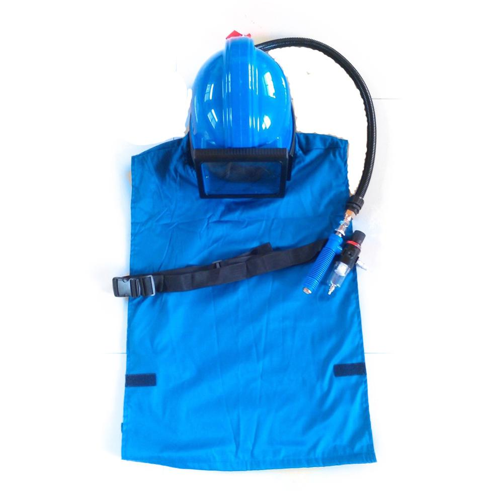 HOLDWIN Blue AIR Supplied Safety Sandblast Helmet Sandblasting Hood Protector with Shoulder Protective Face Hood